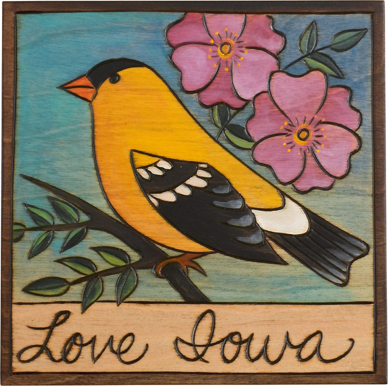 "7""x7"" Plaque –  Iowa's state bird and flower motif"