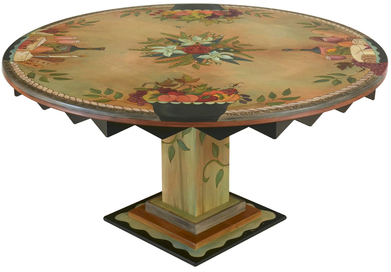 Sticks handmade dining table with lovely fruit banquet theme and wine and cheese motif