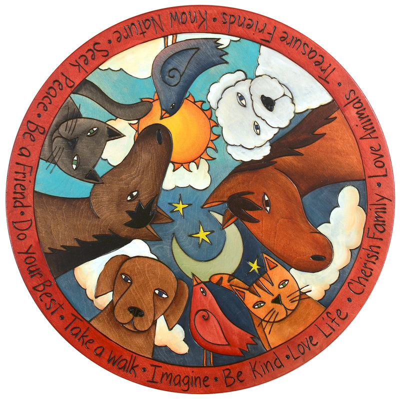 "Sticks Handmade 20""D lazy susan with barnyard animals"
