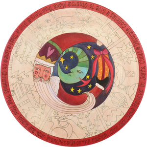 "Sticks Handmade 20""D lazy susan with Santa and Christmas icons"