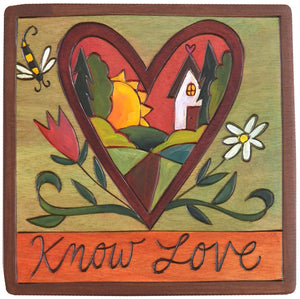 "7""x7"" Plaque –  ""Know love"" landscape within a heart with wings design"