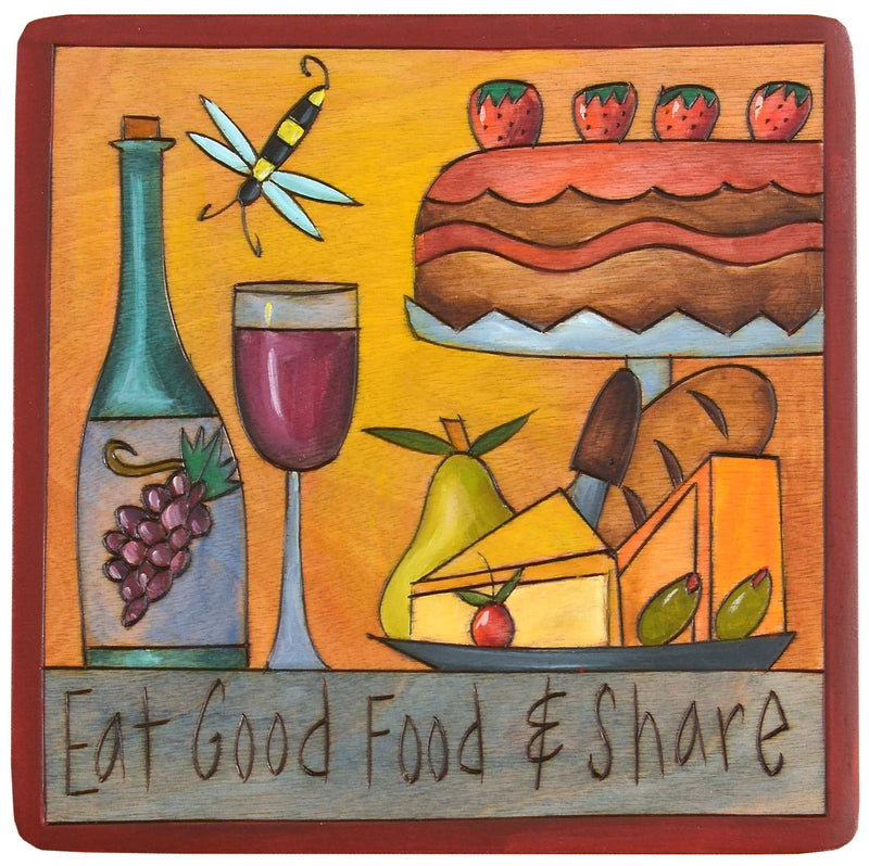 "Sticks handmade wall plaque with ""Eat Good Food & Share"" quote and theme"