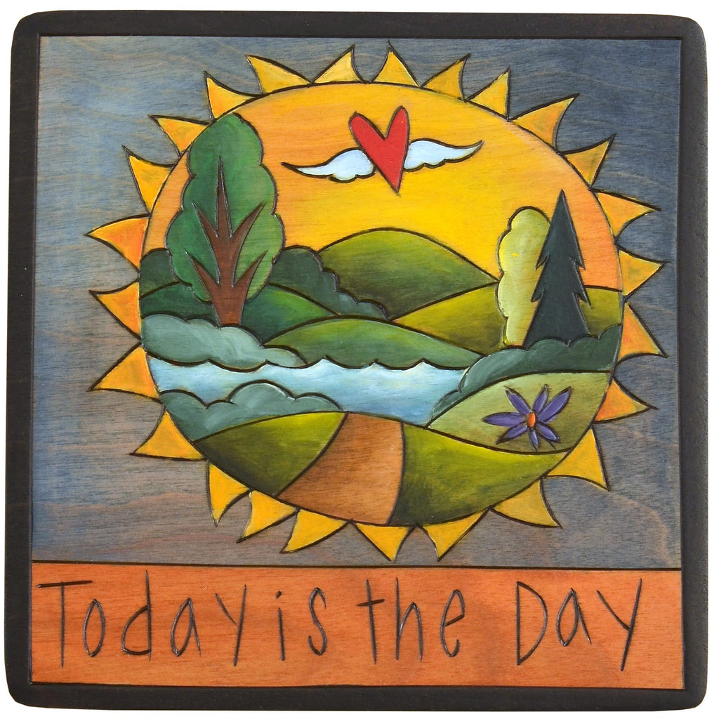 "Sticks handmade wall plaque with ""Today is the Day"" quote and sunny landscape"
