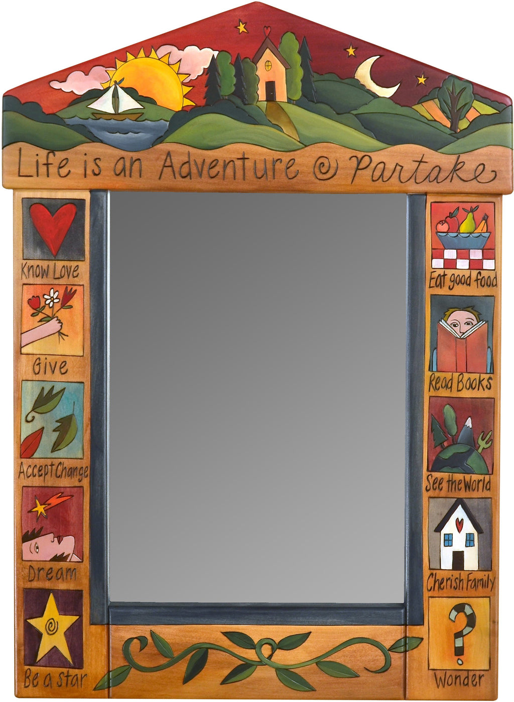 "Medium Mirror –  ""Life is an Adventure/Partake"" mirror with sunset in a red sky over the lake motif"