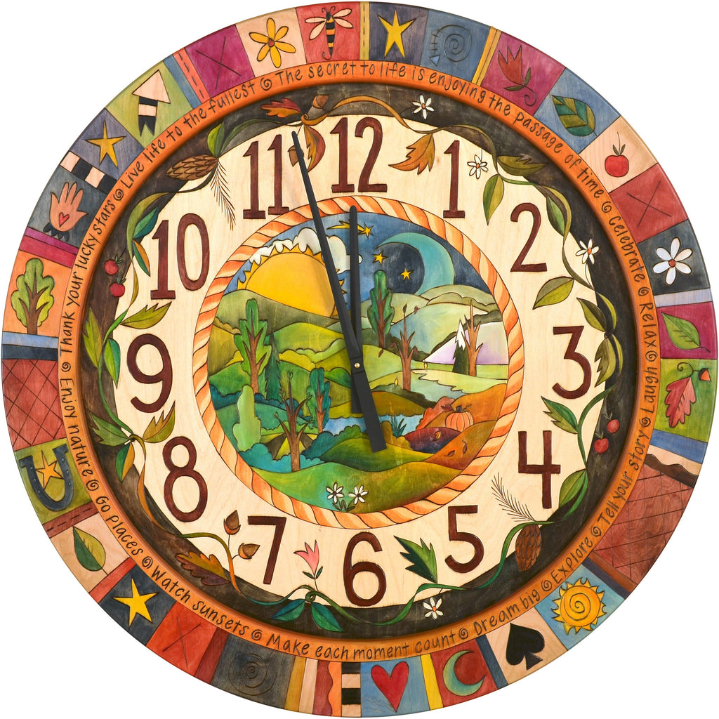 "Sticks handmade 36""D wall clock with four seasons landscape and colorful life icons"