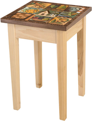Small Square End Table –  Elegant and neutral end table with colorful block icons