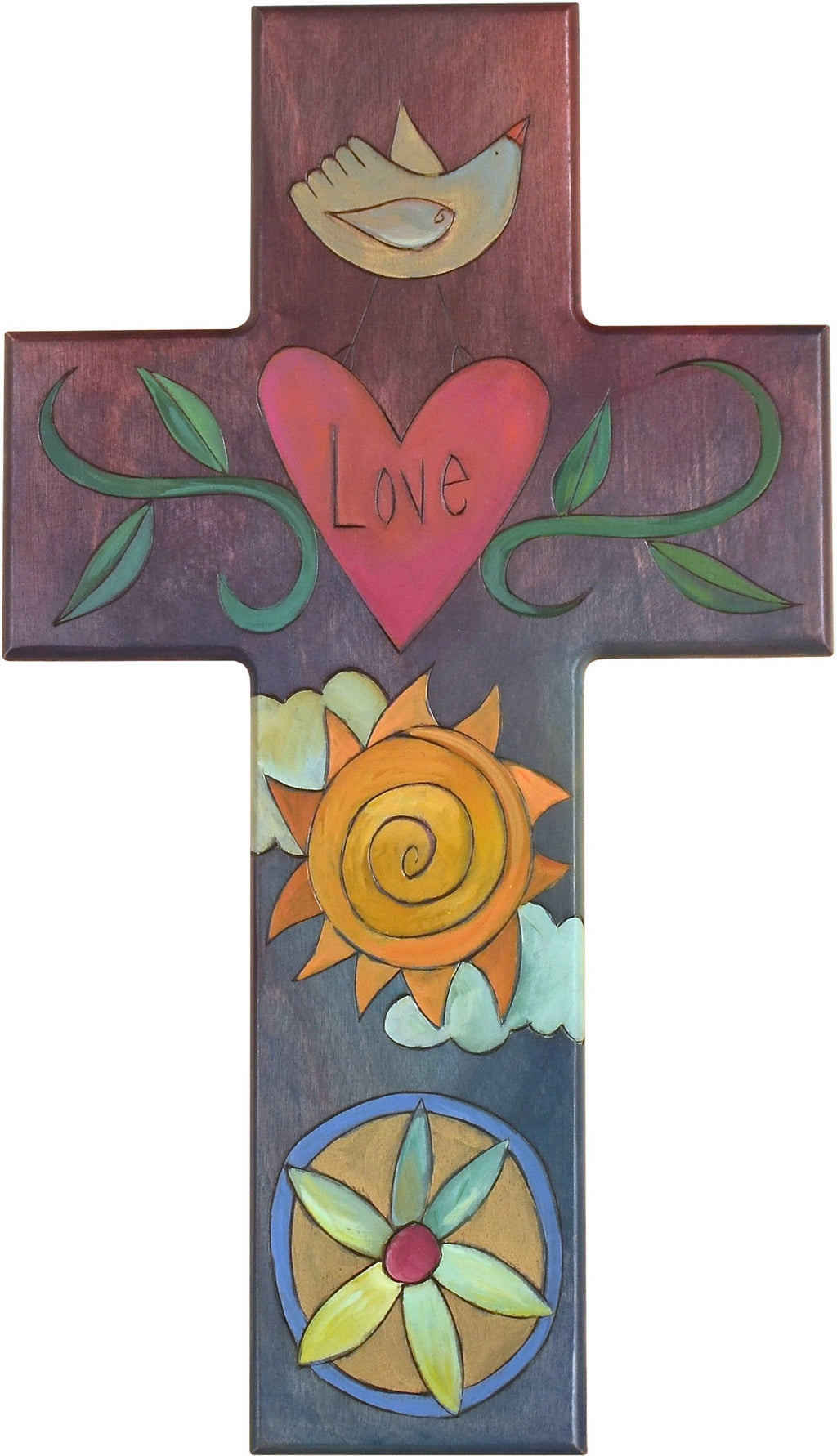 Cross Plaque –  Love cross plaque with sun and heart motif
