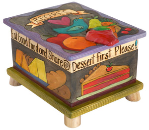 "Recipe Box – Elegant ""recipes"" box with a sweet blue bird and various foods motif"