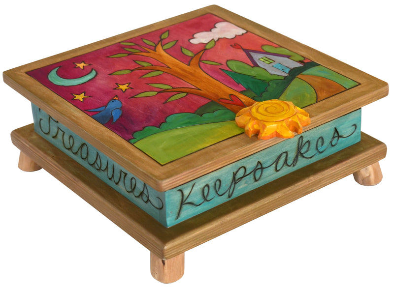 Keepsake Box – Tree of life nestled in a home-y landscape done in bright jewel tones