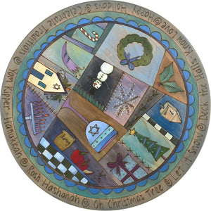 "Sticks Handmade 20""D lazy susan with Hannukah holiday icons in blue and indigo hues"