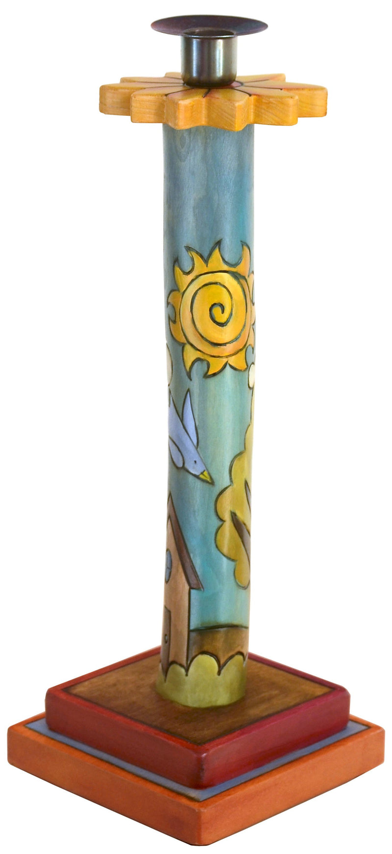 Single Candle Holder –  Single candle holder with sunny day and starry night motif