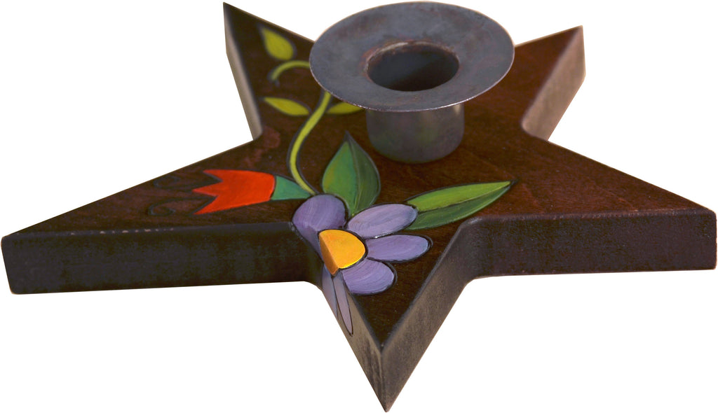 Star-Shaped Candle Holder –  Star-shaped candle holder with floral motifs