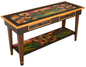 Sticks handmade 5' sofa table with drawers and contemporary folk art design