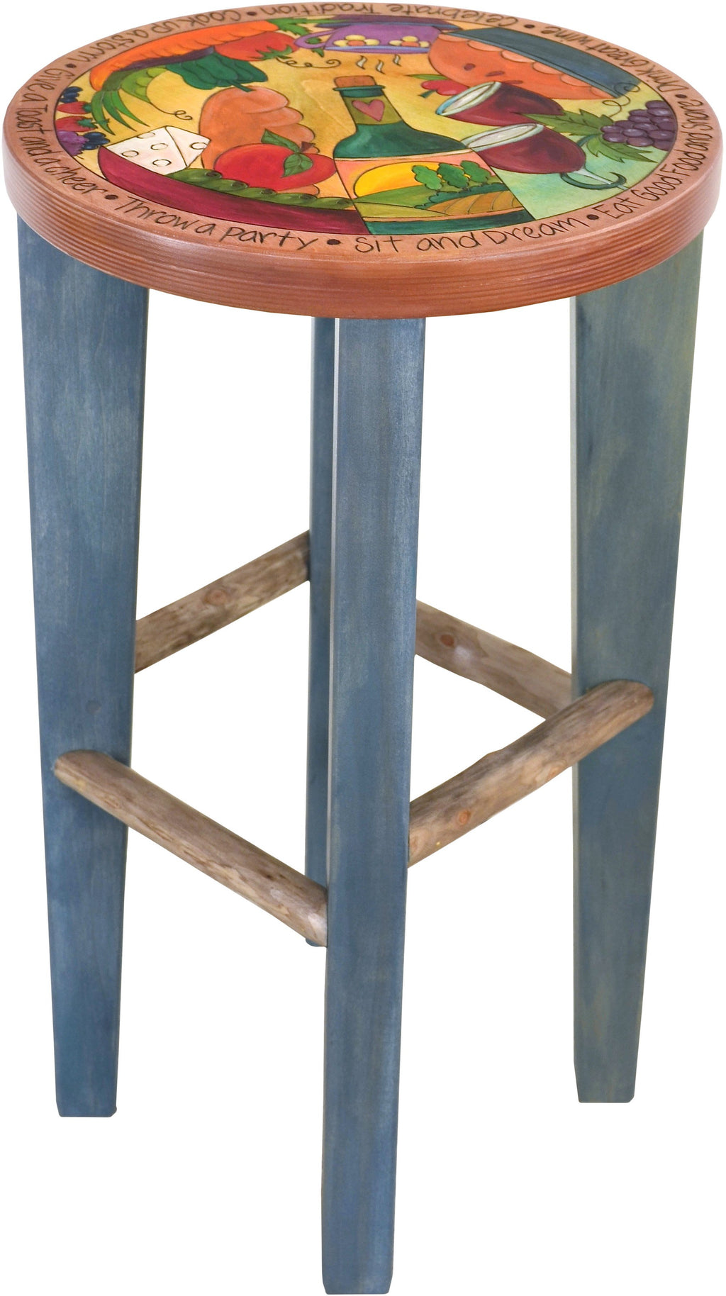 Round Stool –  Banquet themed stool with bright colors and natural birch supports