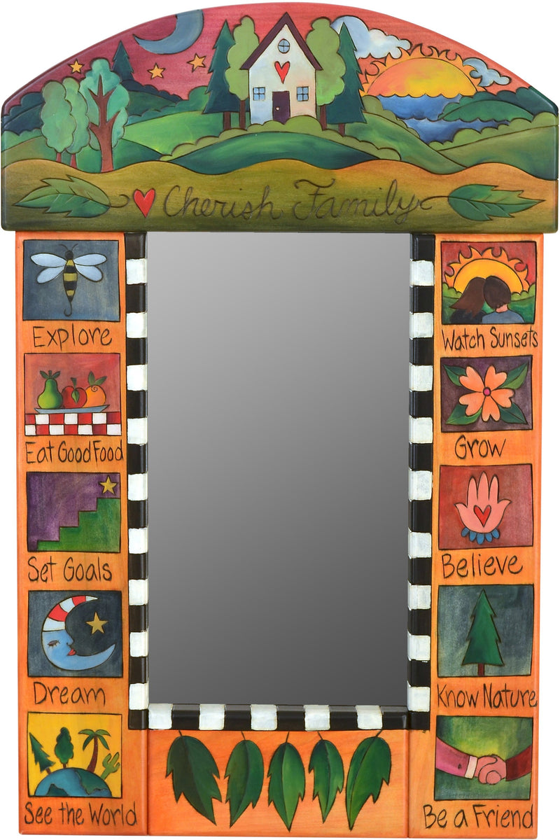"Small Mirror –  ""Cherish Family"" mirror with sun and moon over a cozy home on the horizon motif"