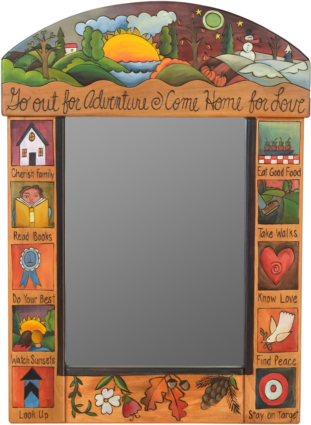 "Medium Mirror –  ""Go out for Adventure/Come Home for Love"" mirror with sun and moon over scene of the changing seasons motif"