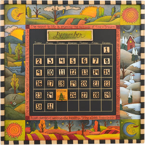 Large Perpetual Calendar –  Beautiful four seasons themed calendar with checked border