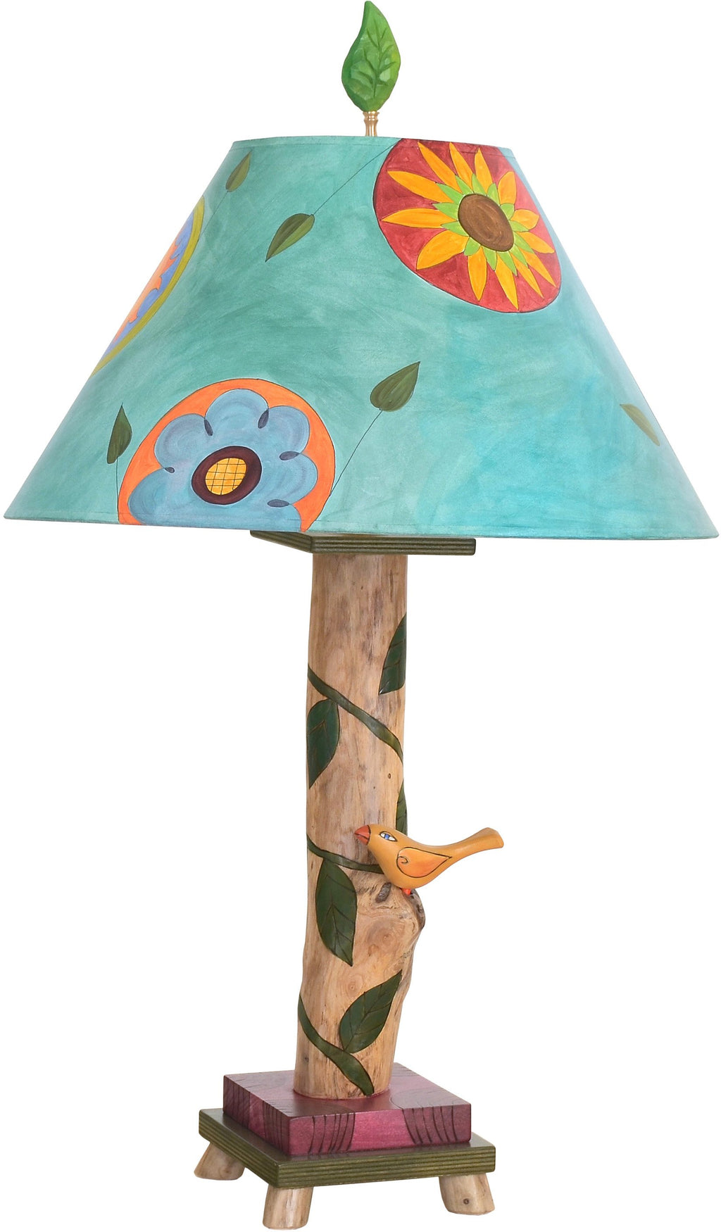 Log Table Lamp –  Beautiful little table lamp with floral and vine motifs