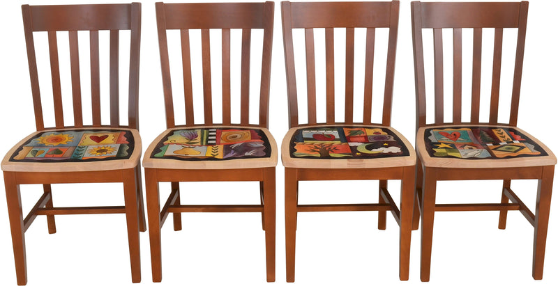 Sticks handmade chairs with colorful folk art imagery