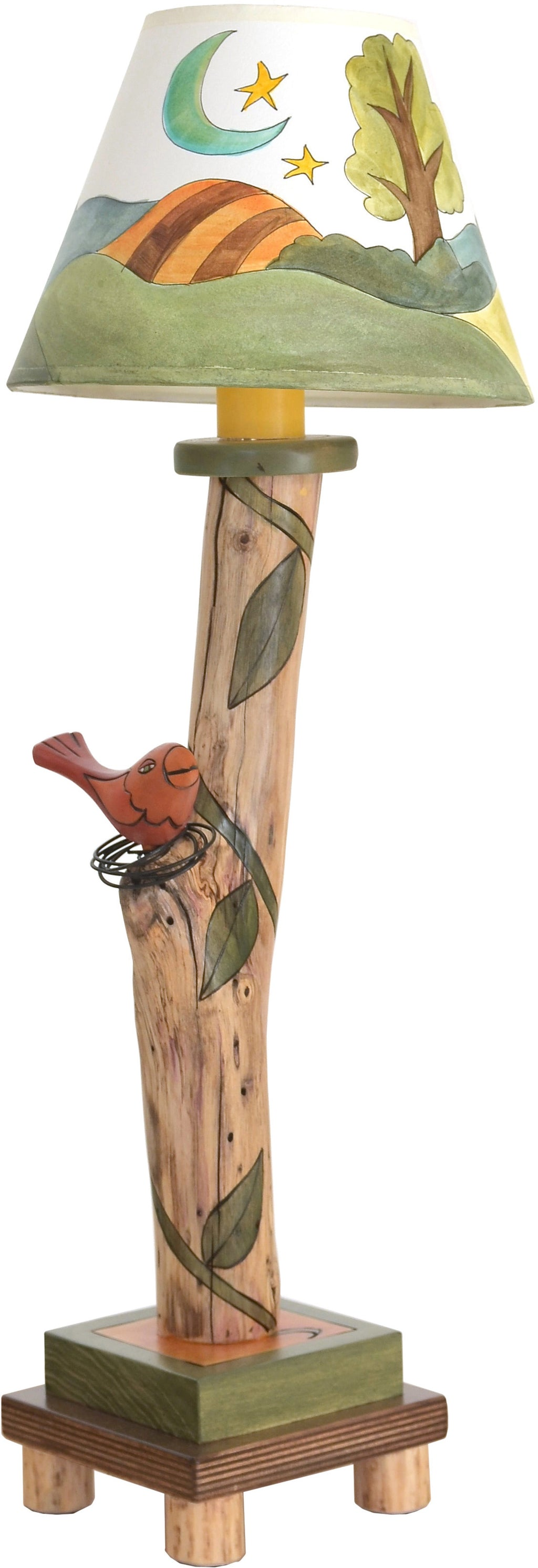 Log Candlestick Lamp –  Cute log lamp with a landscape motif and hand-sculpted bird