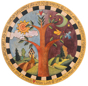 "Sticks Handmade 20""D lazy susan with tree of life"