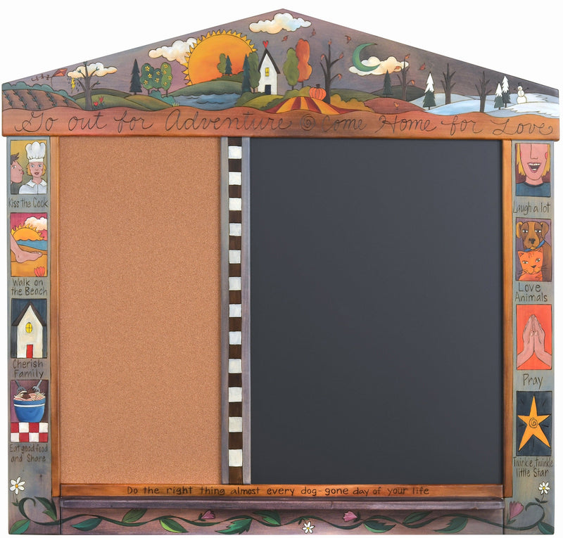 "Large Activity Board –  ""Go out for Adventure, Come Home for Love,"" activity board with four seasons landscape and colorful block icons"