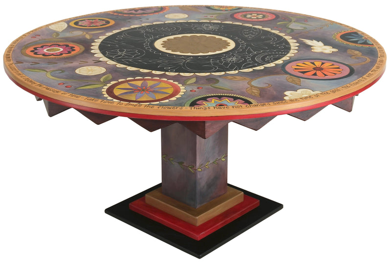 Sticks handmade dining table with contemporary floral design