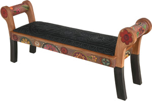 Rolled Arm Bench with Leather Seat –  Rolled arm bench with leather seat with beautiful contemporary floral motif