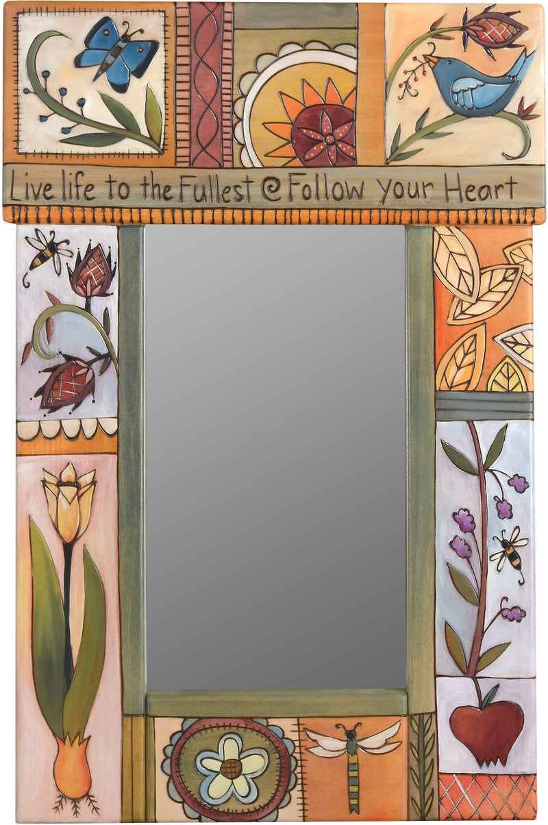 "Small Mirror –  ""Live life to the Fullest, Follow your Heart"" elegant and neutral mirror with floral motifs"
