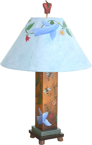 Box Table Lamp –  Contemporary table lamp with floral, vine and bird motifs