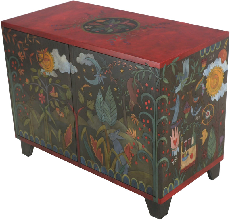 Media Buffet –  Beautiful folk art media cabinet with rolling landscapes and colorful symbols