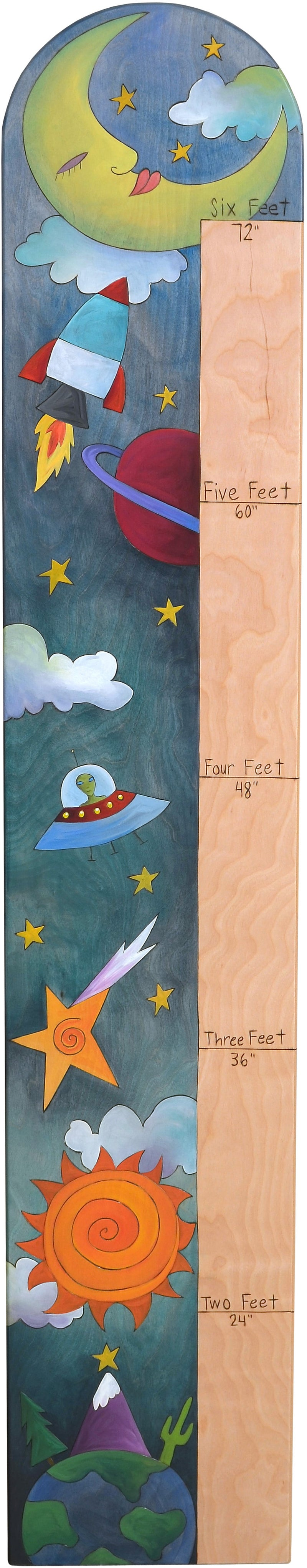 "Everlasting Growth Chart –  Inspirational space themed growth chart ""shoot for the stars"""
