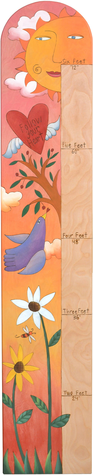 "Everlasting Growth Chart –  Inspirational nature themed growth chart ""follow your heart"""