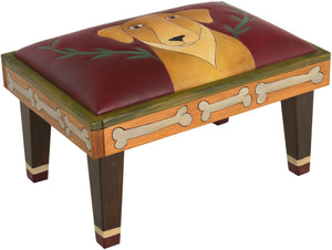 Ottoman –  Elegant hand painted leather ottoman with hand stitched dog and vines