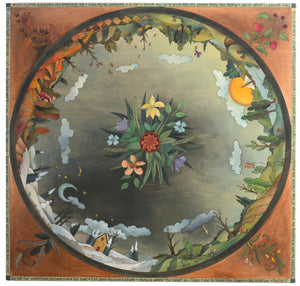 "Square Dining Table –  ""Go Out for Adventure/Come Home for Love"" dining table with sun and moon over beautiful scene of the changing four seasons motif"