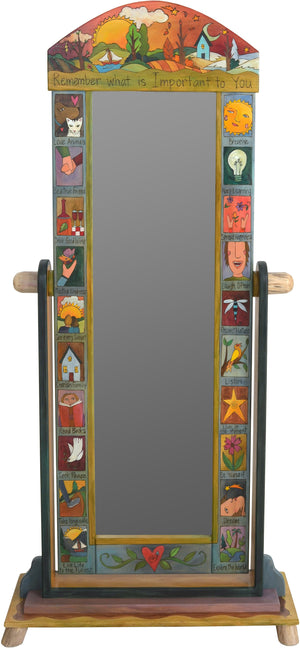 "Wardrobe Mirror on Stand –  ""Remember what is Important to you"" mirror on stand with sun and moon over scenes of the changing seasons motif"
