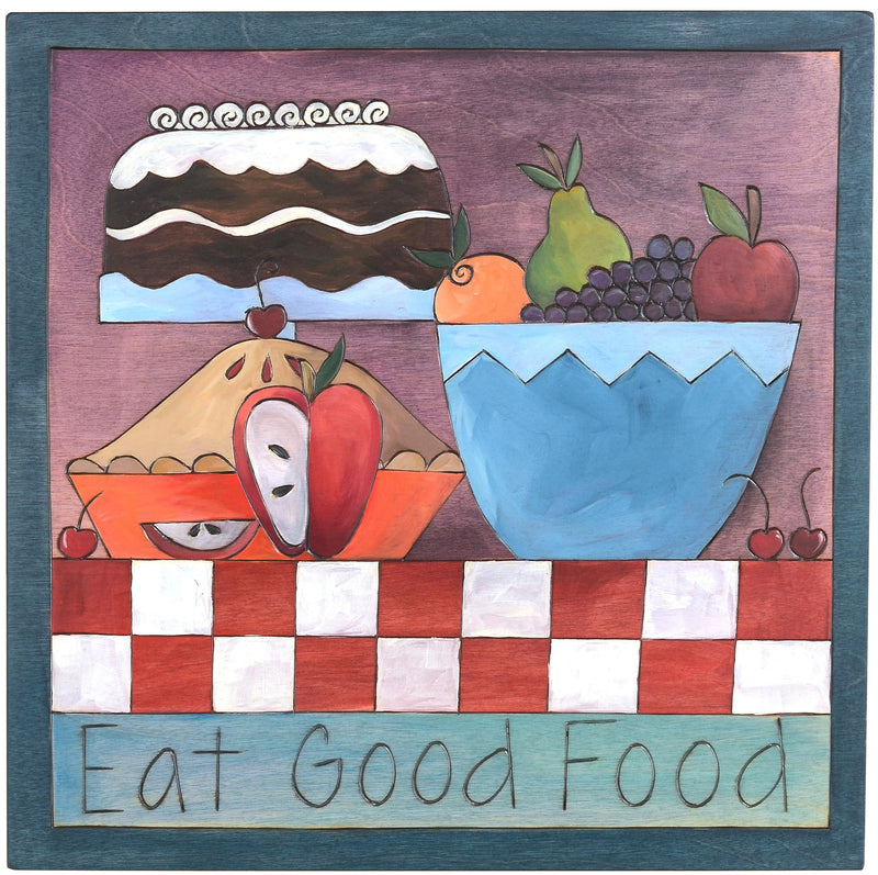"Sticks handmade wall plaque with ""Eat Good Food"" quote and dessert imagery"