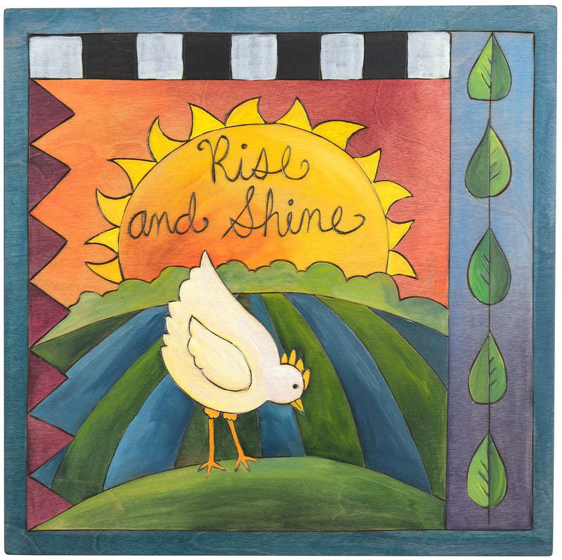 "Sticks handmade wall plaque with ""Rise and Shine"" quote and chicken at sunrise landscape"