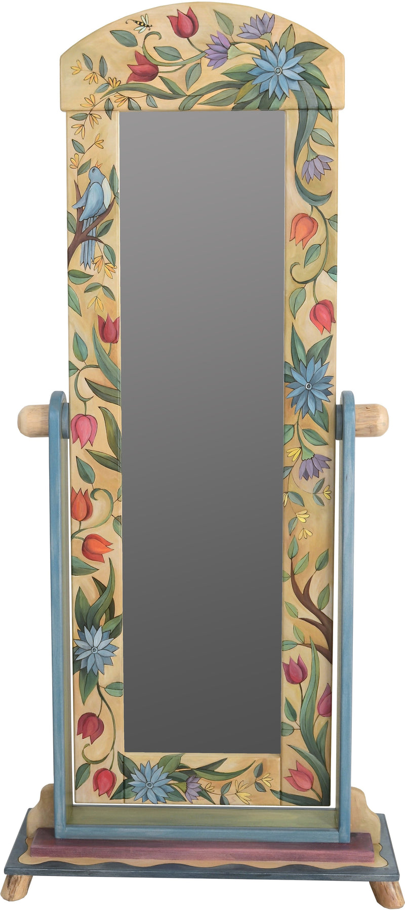 Wardrobe Mirror on Stand –  Elegant wardrobe mirror on stand with bright floral motif