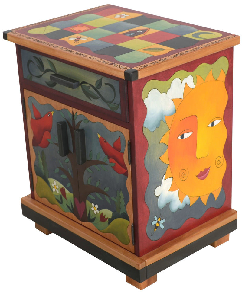 Nightstand Cabinet –  Lovely sun and moon themed nightstand with color block motif and tree of life