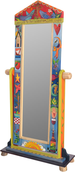 "Wardrobe Mirror on Stand –  ""Live Life to the Fullest"" mirror on stand with birds and tree of life motif"