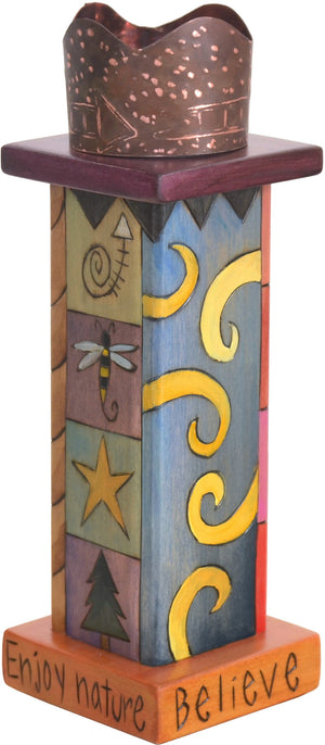 Small Pillar Candle Holder –  Eclectic folk art candle holder with colorful block icon elements and unique stamped metal surround