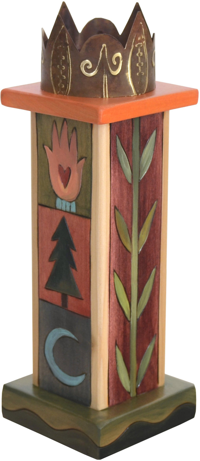 Small Pillar Candle Holder –  Lovely candle holder with colorful block icons and vine motifs