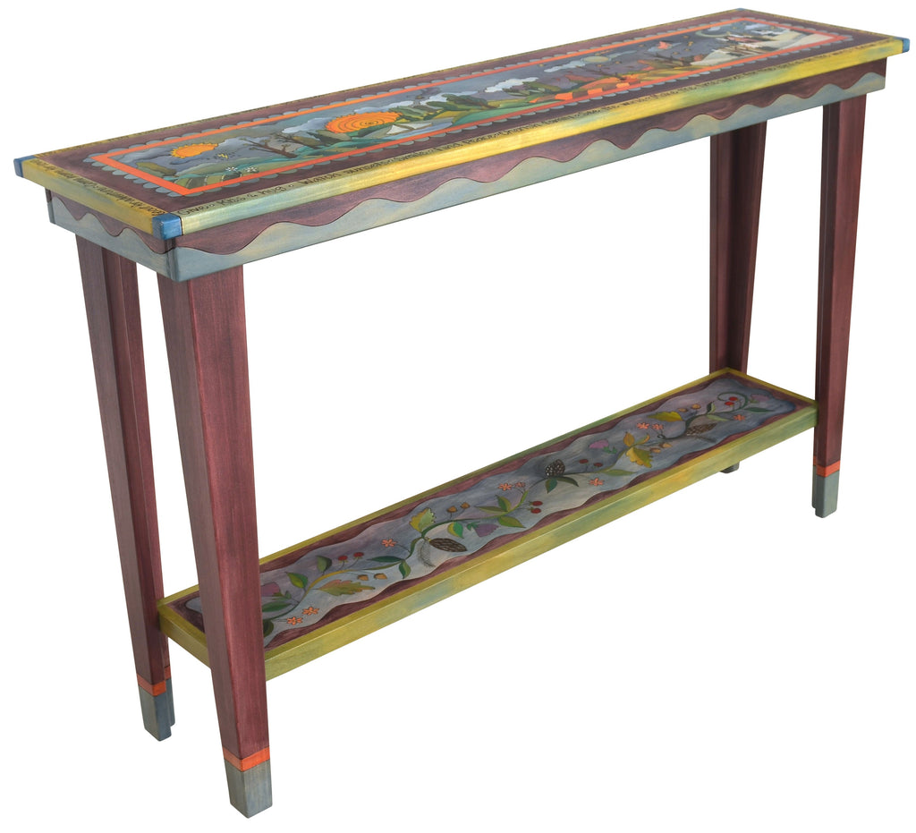 Sticks handmade 5' sofa table with rolling landscape and four seasons theme