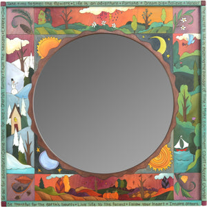 "Square Mirror –  ""Be Thankful for Earth's Bounty"" mirror with colorful scenes of the four seasons motif"