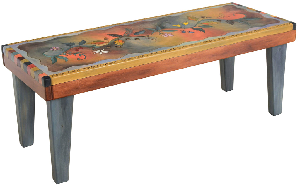 Sticks handmade 4' bench with colorful flowering vine