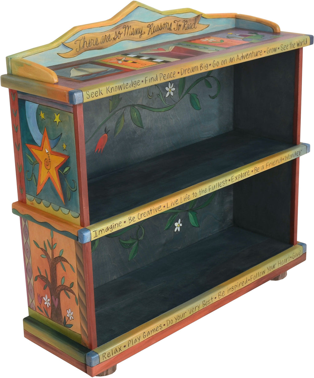 "Short Bookcase –  Colorful bookcase with vine motifs, ""There are so Many Reasons to Read"""