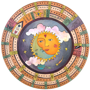 "20"" Cribbage Lazy Susan –  A celestial design with a moon nestled in a sun"