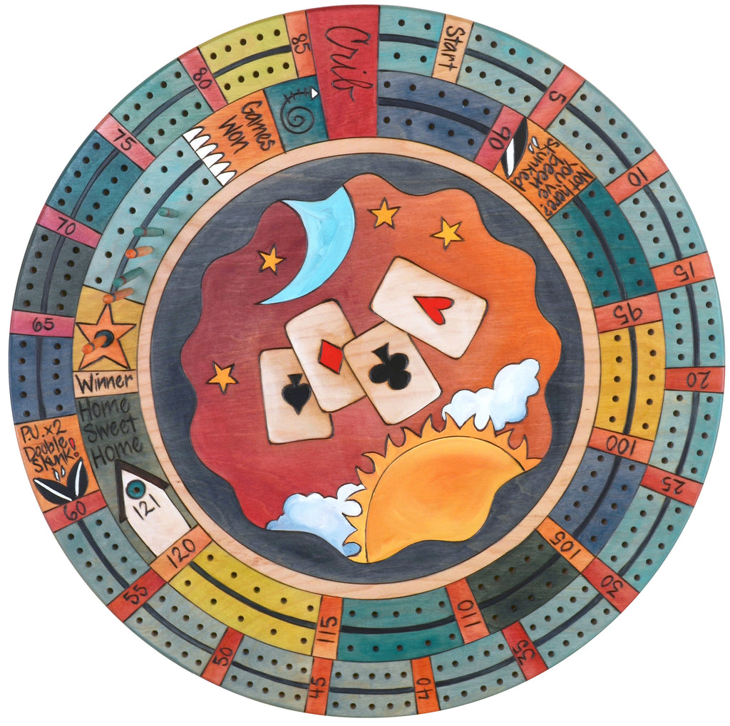 "20"" Cribbage Lazy Susan –  Game night is in the cards with this playing card themed cribbage lazy susan"