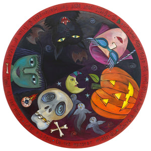 "Sticks Handmade 20""D lazy susan with Halloween theme, costumes, carved pumpkin and a black cat in the round"